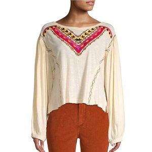 Free People Hand Me Down Embroidered Top